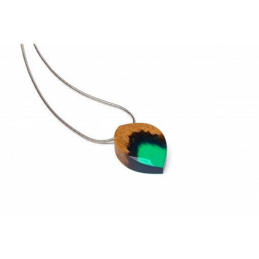 türkiz zöld levél nyaklánc