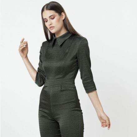 dramatic pine green – snake patterned overall