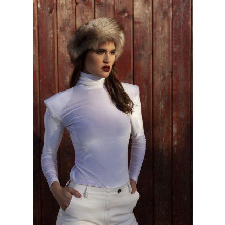 muse white velvet turtleneck blouse
