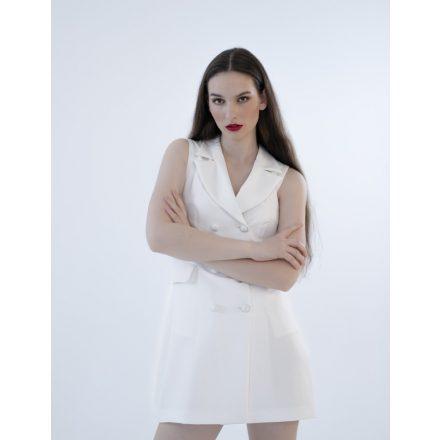 Paris white sleeveless blazer dress