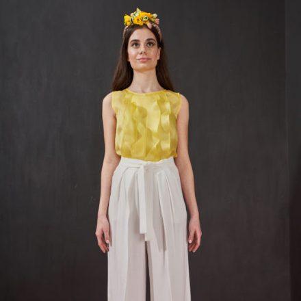 summer yellow organza top