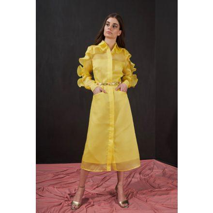 summer yellow organza shirt dress