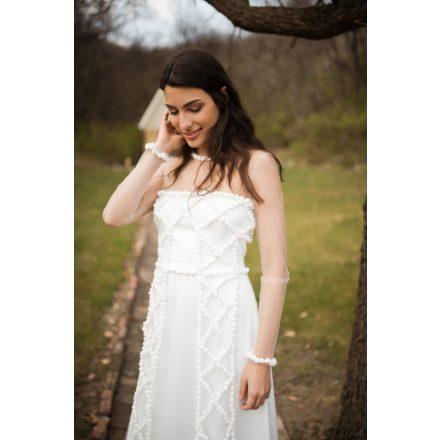 silk pom pom appliqué wedding dress