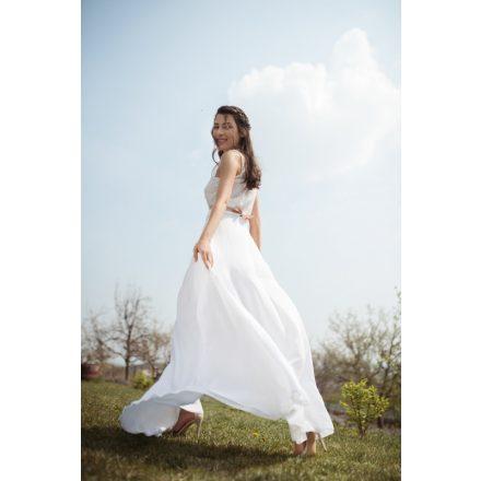 white daffodil lace wedding deux piece
