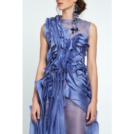 blue silk organza waved dress