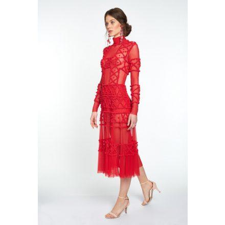 red pom pom applique dress