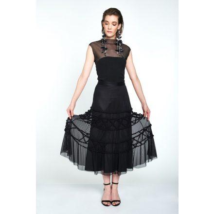 black pom pom applique skirt