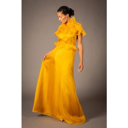 mustard evening dress