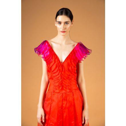 korall estélyi selyemorganza ruha
