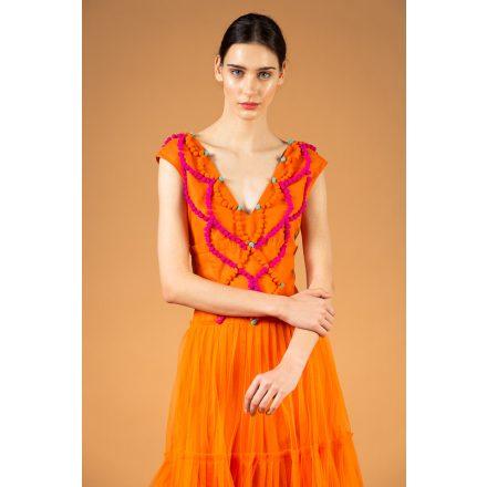 narancs tüll pomponos ruha