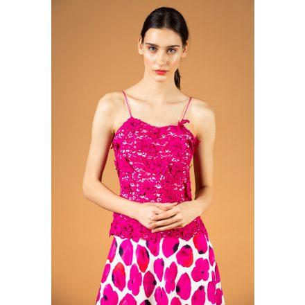 pink virágos csipke-selyem ruha