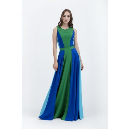 részekből szabott smaragdzöld-kék felső